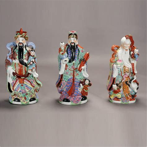 Lu Fu three enameled porcelain figures of fu lu shou