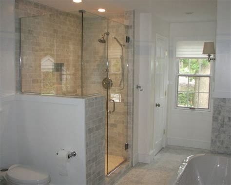 Shower With Half Wall And Glass Door Half Wall Shower Houzz