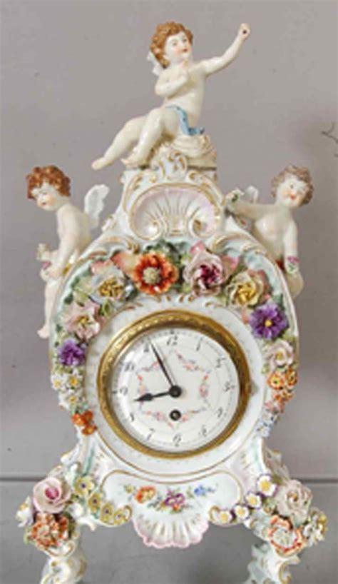 Deutsches Porzellan by Meissen Style German Porcelain Mantel Clock Meissen
