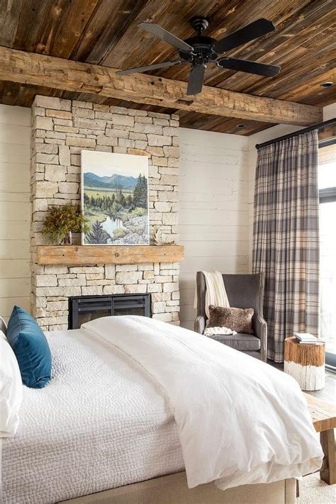 rustic cabin bedroom  gray plaid curtains country