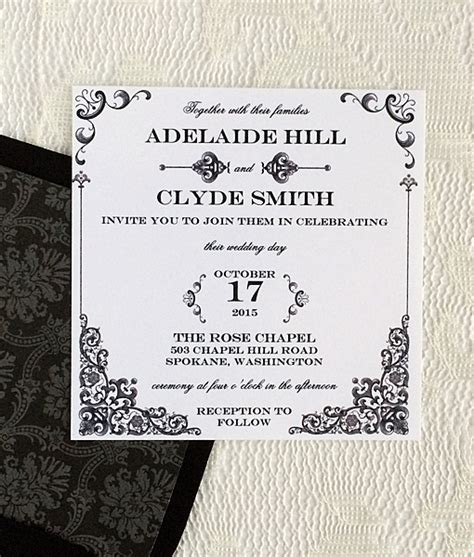 Square Wedding Invitation Template by Vintage Iron Lace Square Invitation Template