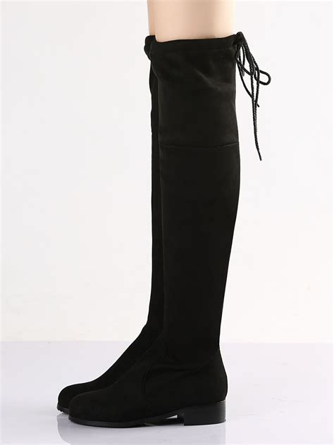 black suede pointed laced back the knee flat boots