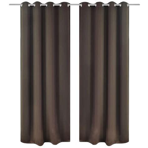 Brown Blackout Curtains Vidaxl Co Uk 2 Pcs Brown Blackout Curtains With Metal Rings 135 X 245 Cm