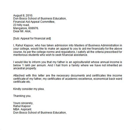 Student Finance Letter Template Sle Financial Aid Appeal Letter 7 Free Documents In Word Pdf