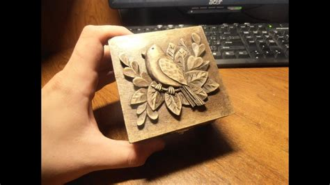 wood carving carved jewelry box carving  wood art
