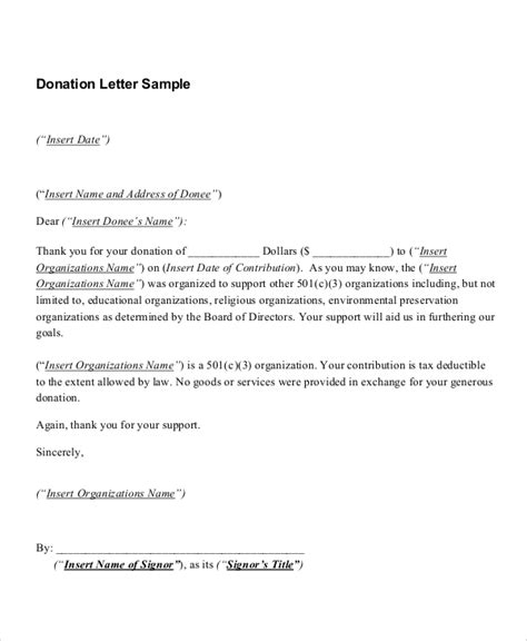 template for donation letter receipt sle donation receipt 8 documents in pdf