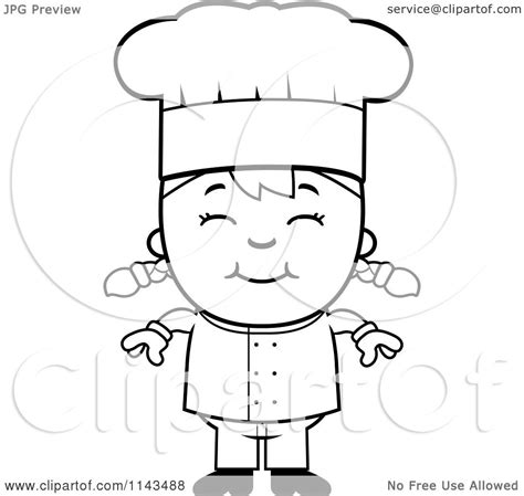 girl chef coloring page cartoon clipart of a black and white happy chef girl