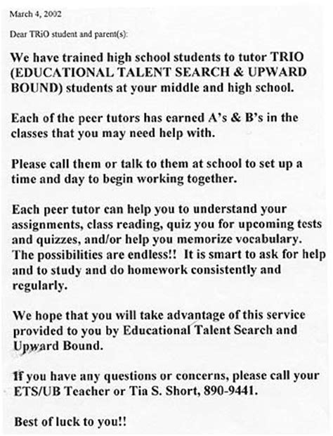 Parent Letter For Tutoring Peer Tutoring Resources Letter To Students And Parents