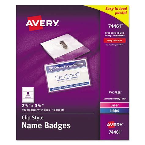 Badge Holder Kit W Laser Inkjet Insert By Avery 174 Ave74461 Ontimesupplies Com Staples Id Badge Kit Template