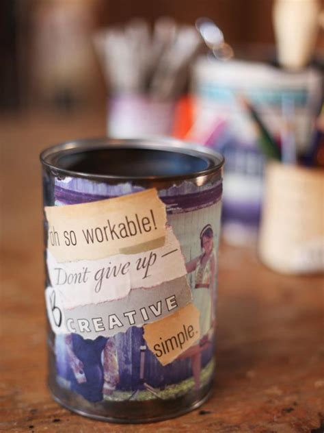 Can You Decoupage On Metal - decoupage photo and quote cans hgtv