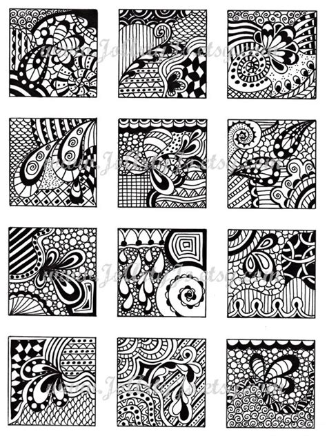 doodle pattern pdf digital collage sheet black and white images abstract by