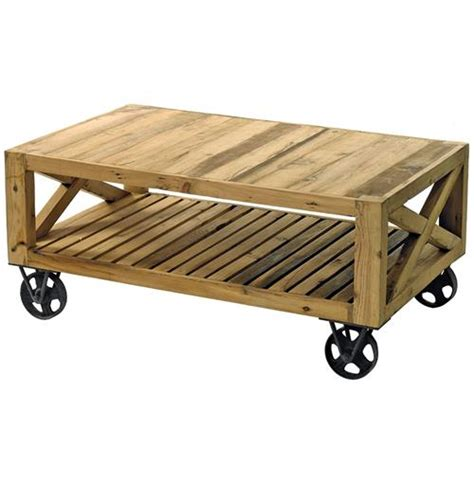 Wooden Cart Coffee Table Chatham Solid Chunky Reclaimed Wood Cart Coffee Table Kathy Kuo Home
