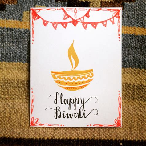 Handmade Diwali Cards - set of 3 handmade diwali cards with envelopes
