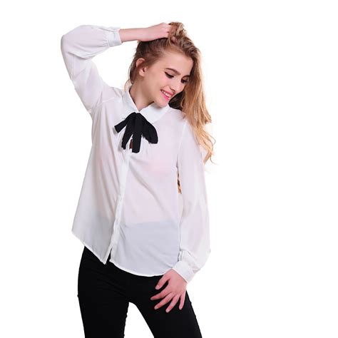 Blouse Back Ribbon 7 new fashion womens european style sleeve with black ribbon blouse shirt casual shirt