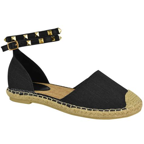 Sandal Studed womens ankle strappy flat sandals summer espadrilles studded shoes size ebay
