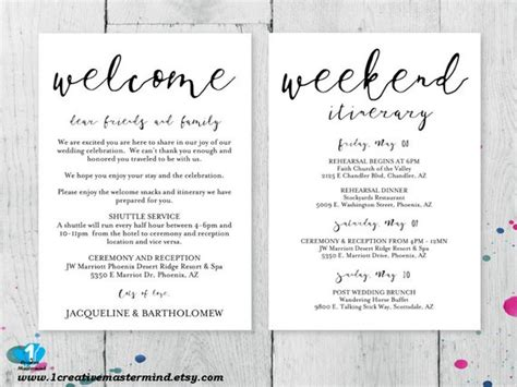Wedding Welcome Note Template diy wedding welcome bag note welcome bag letter printable