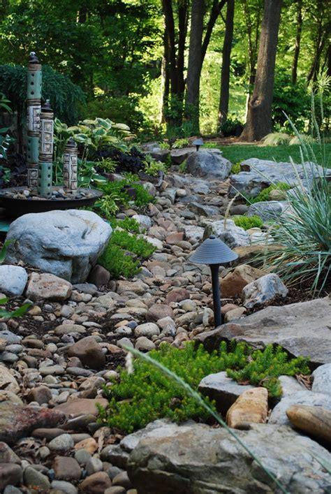 rock garden bed ideas home dzine garden ideas pebble and rock river bed for