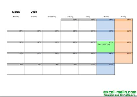 Ireland Calend 2018 Printable Monthly Calendar Template For Excel Excel
