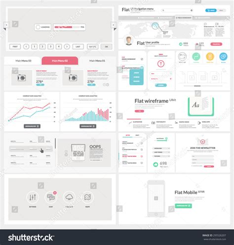 interface design template flat ui kit template website mobile stock vector 295526207