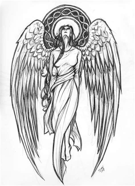 tattoo sketch angel tattoo design of standing angel woman tattooshunt com