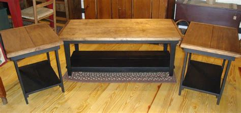 Primitive Handcrafted Coffee Table And Set Of End Tables