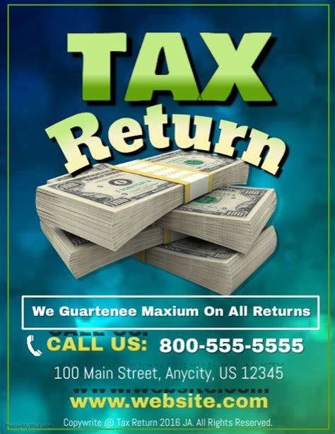 tax return template postermywall
