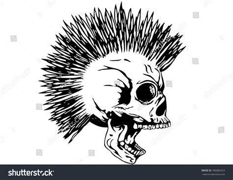 vector illustration punk skull mohawk tshirt stock vector