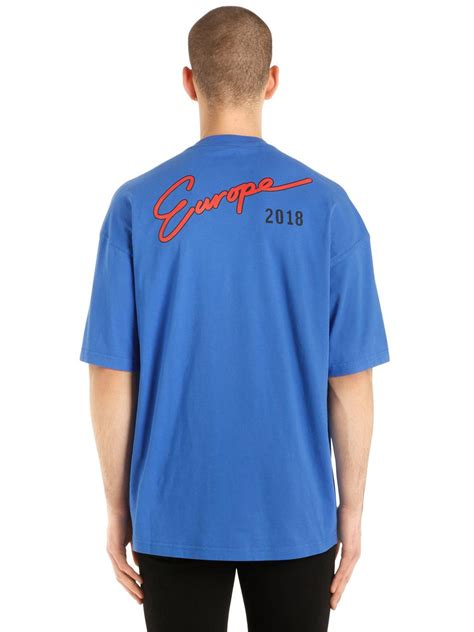 lyst balenciaga oversized europe printed jersey t shirt in blue for