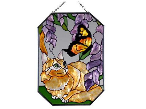stained glass cat l 7x10 orange tabby cat kitty floral butterfly stained art