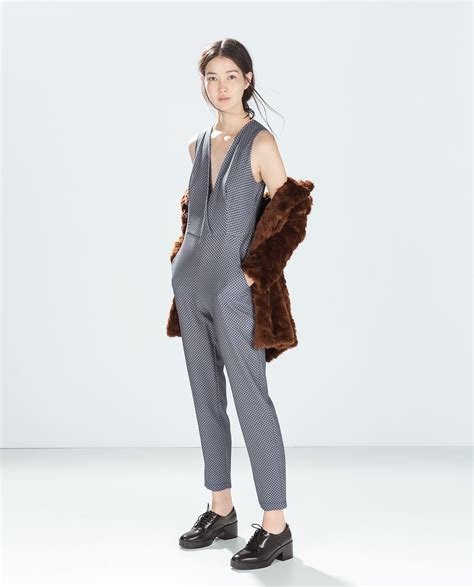 zara in blue lyst zara tie print jumpsuit in blue navy blue lyst