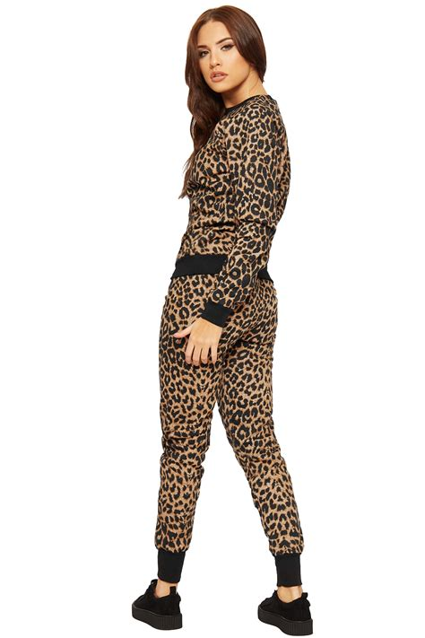 womens leopard loungewear set animal print top