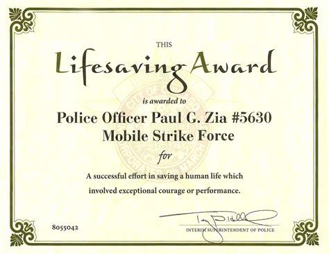 life saving award certificate template best design