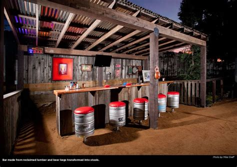 the backyard restaurant rustic backyard bar with kegs refashioned as bar stools