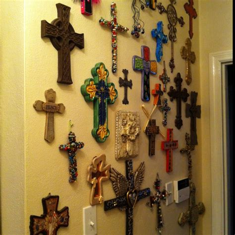 cross decorations wall wall of crosses bedroom
