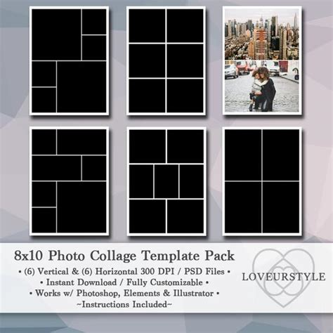 8x10 Digital Photo Template Pack Photo Collage Scrapbook 8x10 Photo Collage Template