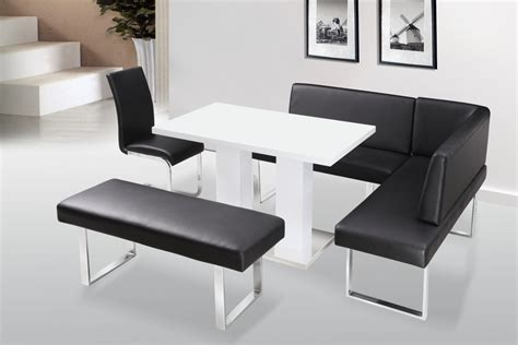 Bench Dining Chair White High Gloss Dining Table Chairs With Bench Set Homegenies
