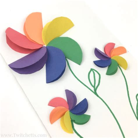 Paper Flower Craft For Children - rainbow flowers construction paper crafts for