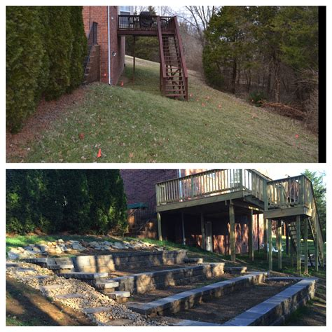 sloped backyard before and after my home has a slope being changed from the inside out