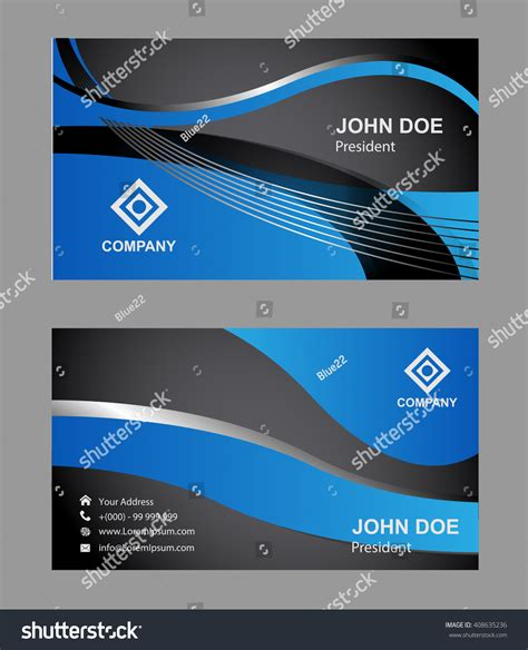 blue business card template blue business card template stock vector 408635236