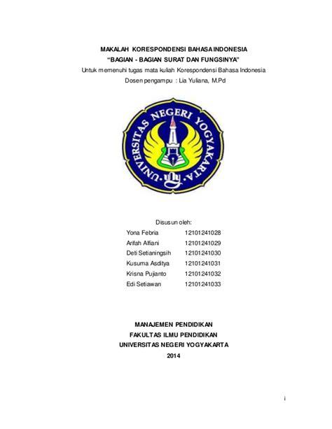 Korespondensi Bahasa Indonesia bagian dan fungsi surat