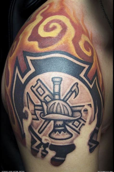 celtic maltese cross tattoos firefighter maltese flames shoulder shared by