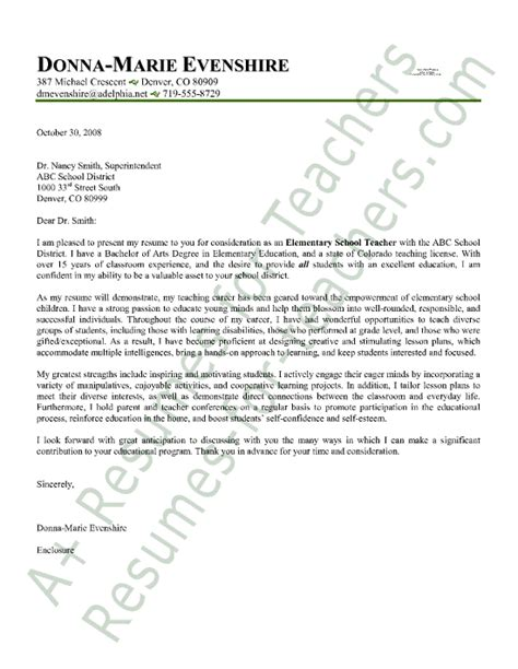 Cover Letter For Teaching Position School Elementary Cover Letter Sle Employment