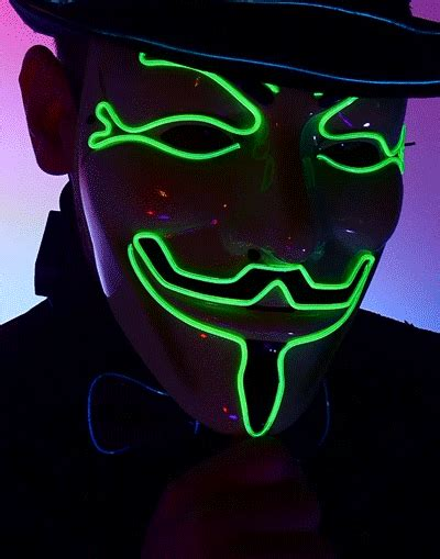 light mask light up led fawkes v for vendetta mask single color