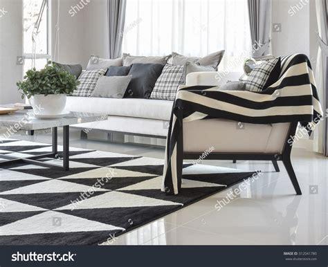 test pattern modern living modern living room interior black white stock photo