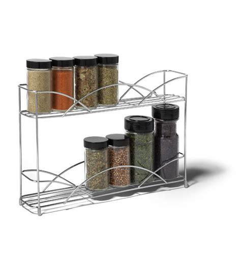 Silver Spice Rack Two Tier Silver Wall Mount Spice Rack In Spice Racks