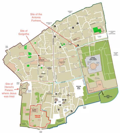 city of jerusalem map where the trial of jesus took place with meagre powers