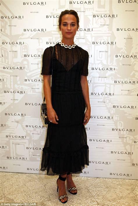 Dress Bulgary Black vikander stuns in semi sheer black dress at bvlgari