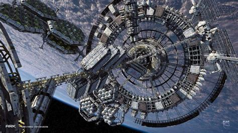 concept design for karimadom colony trivandrum soaring interstellar spaceship concept art by steve burg