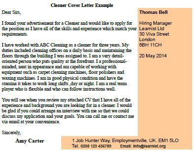 cleaner cover letter post reply