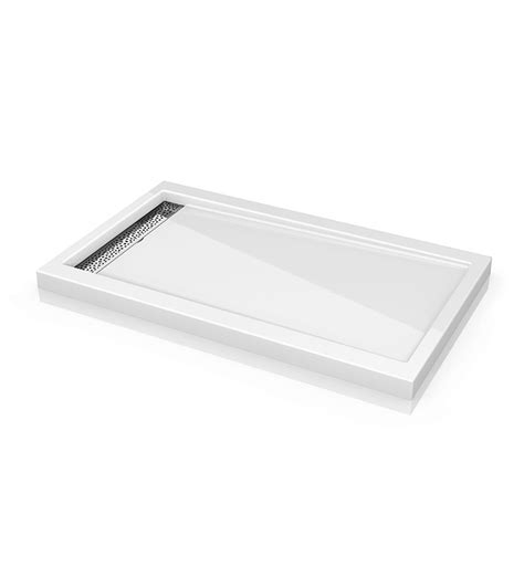 Linear Drain Shower Pan by Fleurco Abe Reversible Acrylic Shower Base With Side